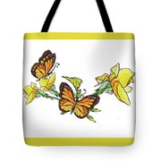 Yellow Roses And Monarch Butterflies Tote Bag