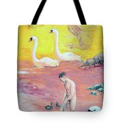 Yellow Swans With Love Potions Tote Bag by Rene Capone