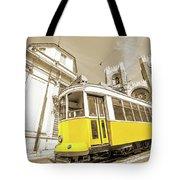 yellow tram Lisbon Tote Bag