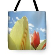 Yellow Tulip Flower Art Prints Spring Blue Sky Clouds Baslee Troutman Tote Bag
