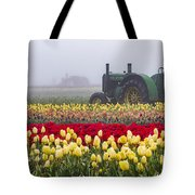 Yellow Tulips And Tractors Tote Bag