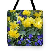 Yellow Tulips And Violets Tote Bag