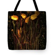 Yellow Tulips Decaying At Sunset Tote Bag
