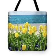 Yellow Tulips Near Lake Tote Bag