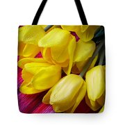 Yellow Tulips With Dew Drops Tote Bag