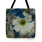 Yellow, White And Blue Tote Bag