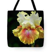 Yellow White And Burgundy Iris Tote Bag