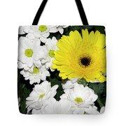 Yellow White Flowers Tote Bag