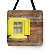 Yellow Window On Wooden Hut Wall Tote Bag