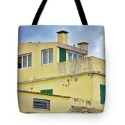 Yellow Worn Out Concrete House Tote Bag