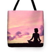 Yoga On Beach Tote Bag