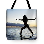 Yoga On The Coastline Tote Bag