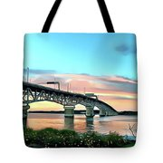 York River Bridge Tote Bag by Harry Warrick