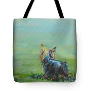 Yorkie In The Grass Tote Bag by Kimberly Santini