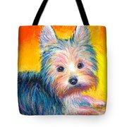 Yorkie Puppy Painting Print Tote Bag
