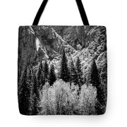 Yosemite Meadow In Black And White Tote Bag