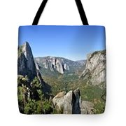 Yosemite Valley Panorama From Union And Glacier Points Tote Bag