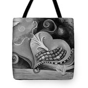 You Caught My Heart Black White Tote Bag