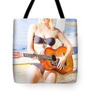 Young Attractive Blonde Woman Playing Guitar Tote Bag