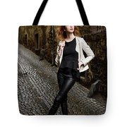 Young Attractive Woman Standing In The Wet Cobblestone Reber All Tote Bag