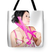 Young Beautiful Woman Cutting Hair At Beauty Salon Tote Bag