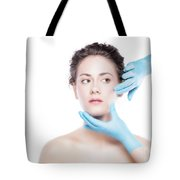 Young Beautiful Woman's Skin Review Before Treatment. Tote Bag