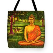 Young Buddha Meditating In The Forest Tote Bag