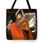 Young Buddhist Monks Laos Tote Bag