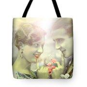 Young Couple Flirting Tote Bag