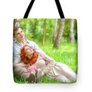 Young Couple In The Park Tote Bag