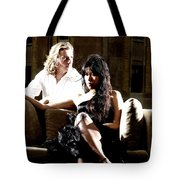 Young Couple Outdoors At A Mansion On A Couch In Harsh High Cont Tote Bag