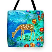 Young Deer Drinking Tote Bag