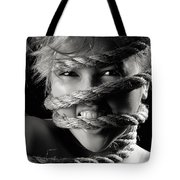 Young Expressive Woman Tied In Ropes Tote Bag