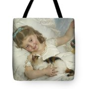 Young Girl And Cat Tote Bag