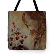 Young Girl And Flowers  Tote Bag