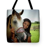 Young Girl And Her Horse Tote Bag