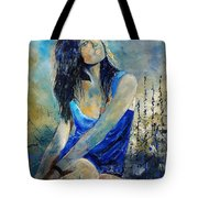 Young Girl In Blue Tote Bag