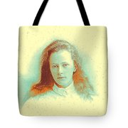 Young Girl In High Collared White Blouse Tote Bag