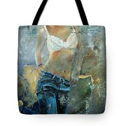 Young Girl In Jeans  Tote Bag