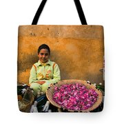 Young Girl Selling Rose Petals In The Medina Of Fes Morroco Tote Bag