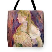 Young Girl With A Fan Tote Bag