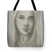 Young Girl With Long Hair Tote Bag