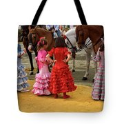 Young Girls In Flamenco Dresses Looking At Horses At The April F Tote Bag