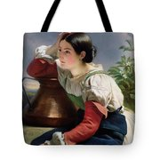 Young Italian At The Well Tote Bag by Franz Xaver Winterhalter