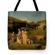 Young Ladies Of The Village By Gustave Courbet, 1851-1852 Tote Bag