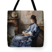 Young Lady At The Fireplace Tote Bag