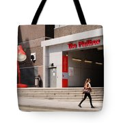 Young Lady In A Hurry Tote Bag