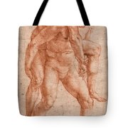 Young Man Carrying An Old Man On His Back Tote Bag