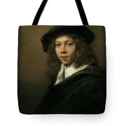 Young Man In A Black Beret Tote Bag