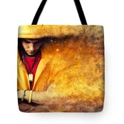 Young Man In Hooded Sweatshirt On Grunge Wall Tote Bag